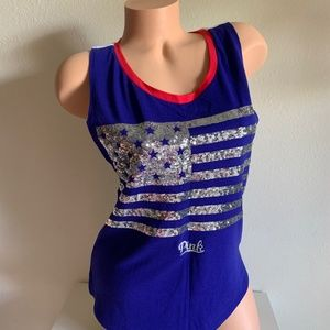VS PINK Star Stripe Blue Sequin Bling Tank Top XS